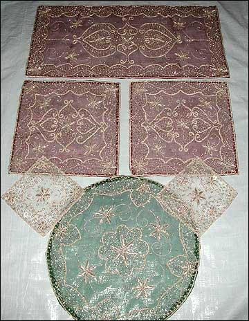 Tissue, Table Cloths with Naqshi Embroidery