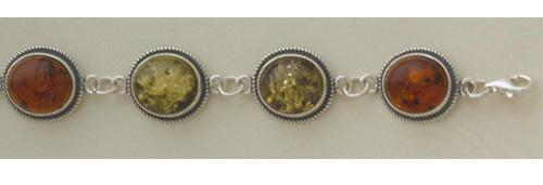 Sterling Silver Bracelet studded with Amber stone