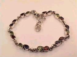 Cut Stone Sterling Silver Bracelet with Garnet & Peridot