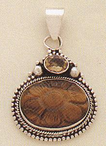 Sterling Silver Carving stone Pendant