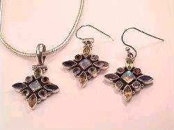 Cut Stone Pendants & earrings