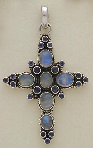Sterling Silver Cross studded with Rainbow Moon stone & iolite stone