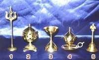Brass Handicrafted Deepak, Trishul, Bell