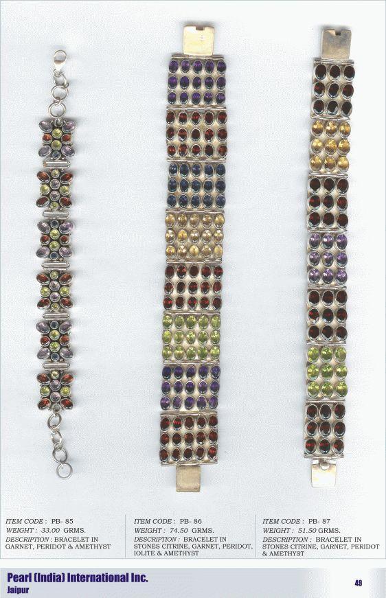Bracletes in various semi-precious stones