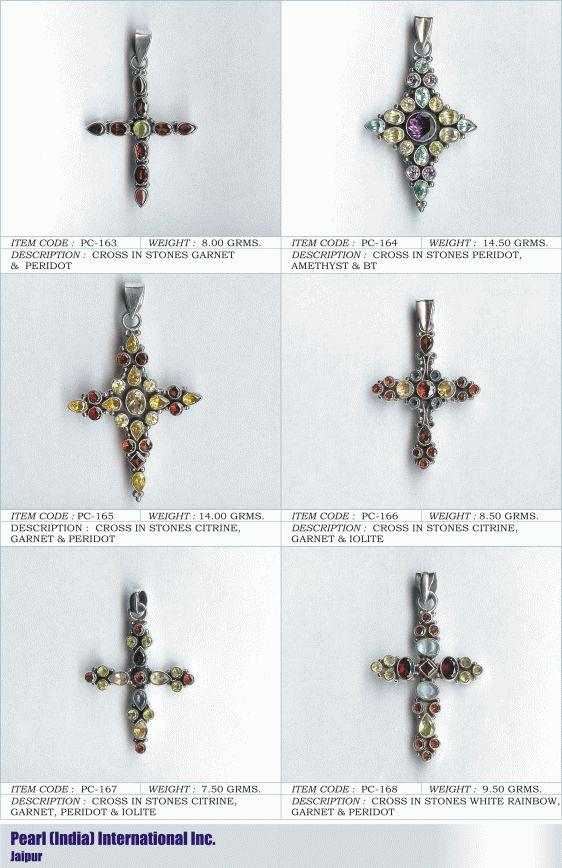 Crosses in Various Semi Precious Stones