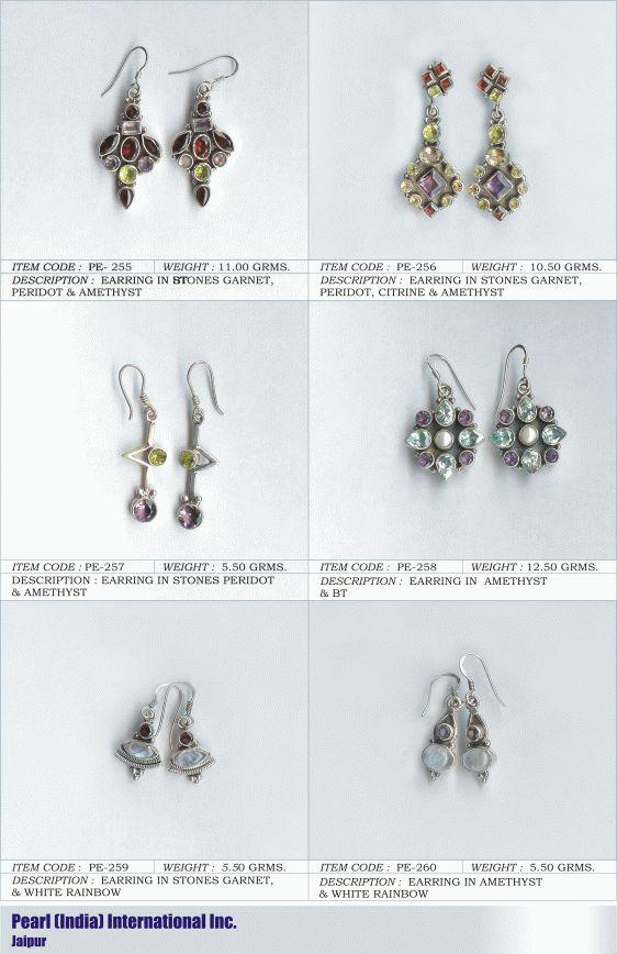 Earrings in Various Semi Precious Stones