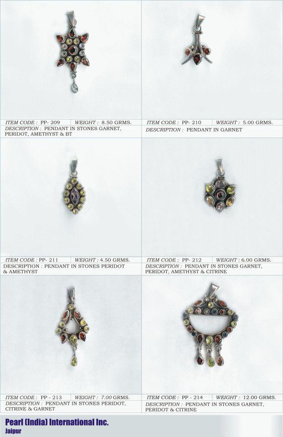 Pendants in Various Semi Precious Stones