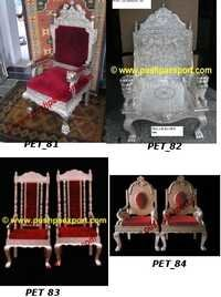 White Metal Silver Wedding Chair