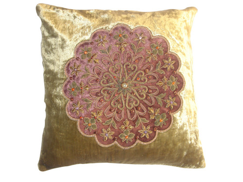 Circle Patch Embroidered Cushion Covers