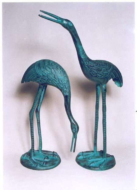 Garden Crane Pair Sculpture