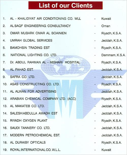 List of our Clients