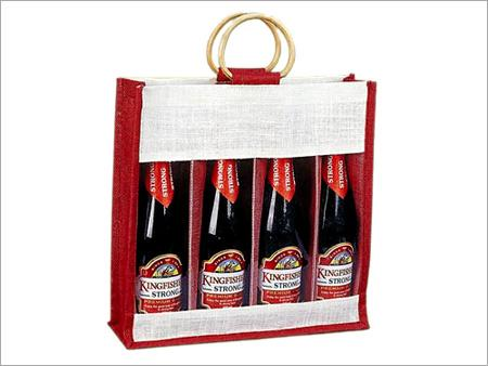 Jute Wine Bag For 4 Bottles