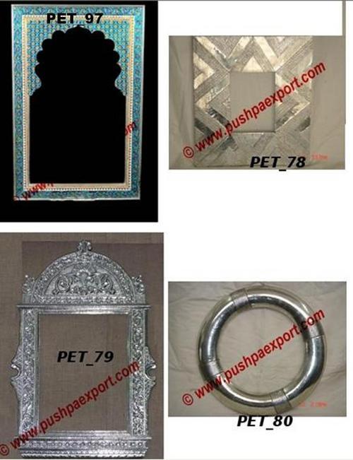 White Meenakari Mirror Photo Frames