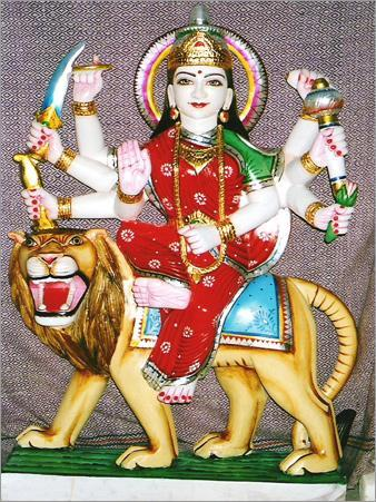 Durga Mata in White Marble