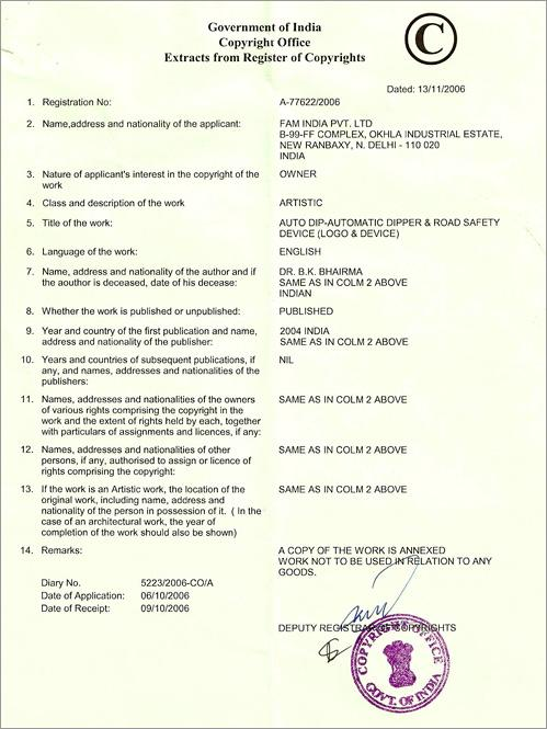 Copyright Certificate