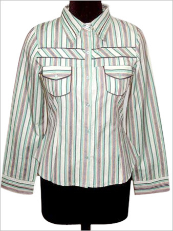 Full Sleeves Blouse in yarn Dyed Stripes