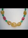 Ruby, yellow sapphire and emerald Irregular Shaped Beads
