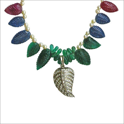 Emerald,Ruby & Blue Sapphire Carved Leaves