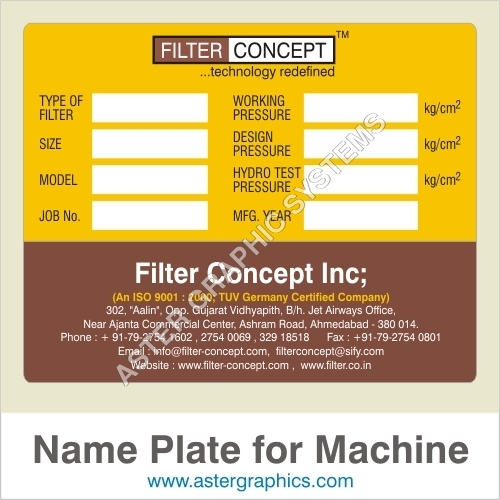 Name Plates for Machines