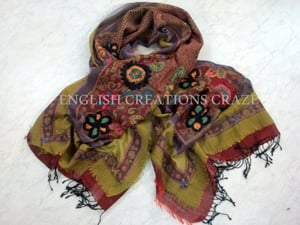 Wool Embroidered Scarves India