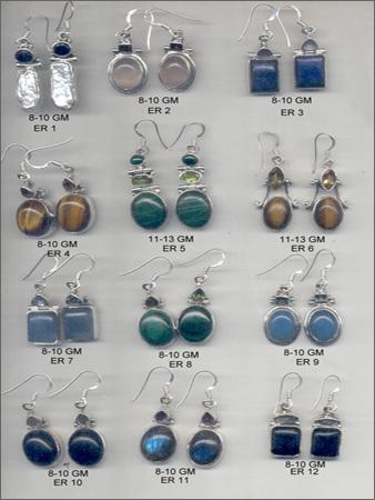 Silver Cut Stone Earing