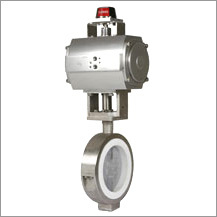 PTFE Sleeve with SS Flap Butterfly Valve with Actuators
