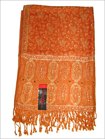 Paisely Jamawar Viscose Stole with Work