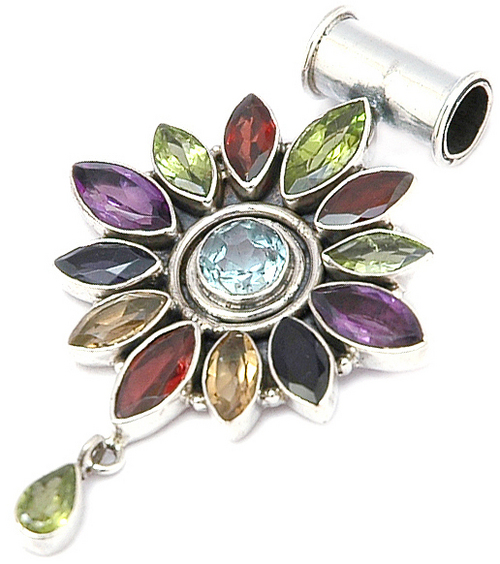 Multicolor Facited Gem Stone Pendent