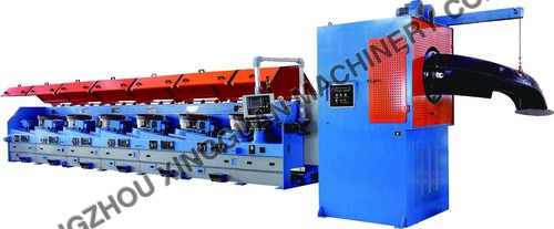 Dry drawing machine with drop coiler