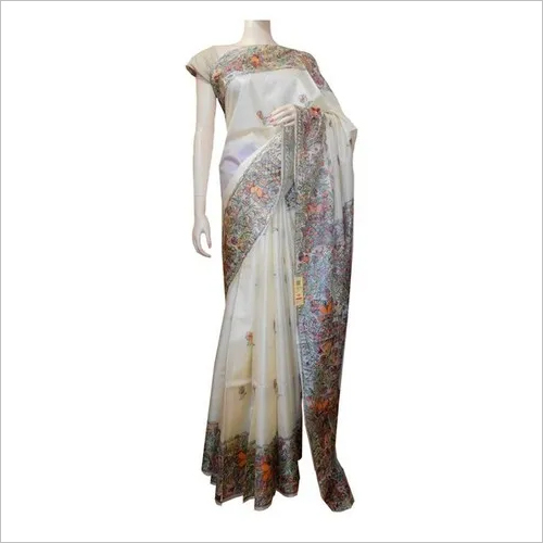 Tussar打印的丝绸Saree