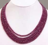 5 Strand Faceted African Ruby Beads Necklace