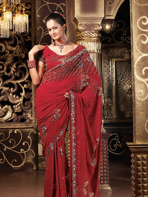 Ladies Hand Embroidered Saree
