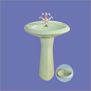 Light Green Ceramic Wash Basin with Pedestal