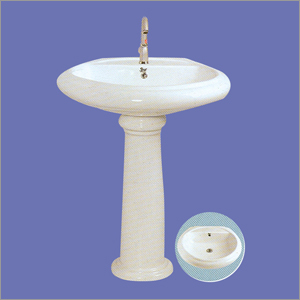 Plain White Wash Basin with Pedestal