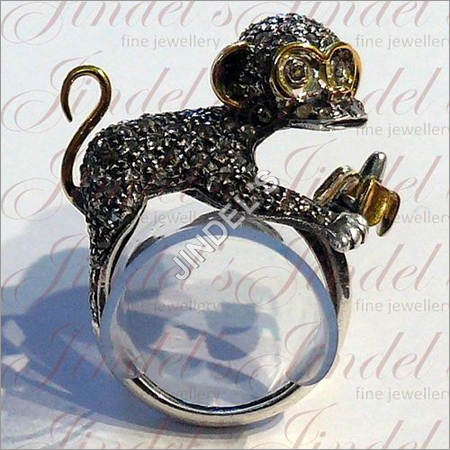 Diamond Cut Monkey Ring