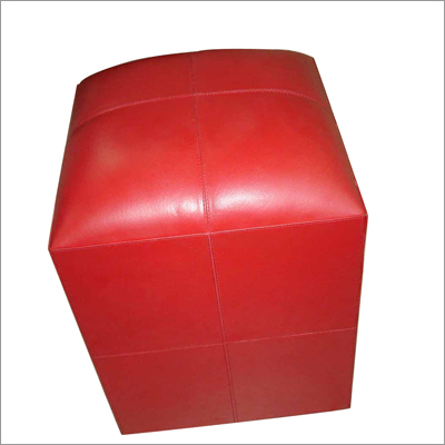 Red Leather Pouf