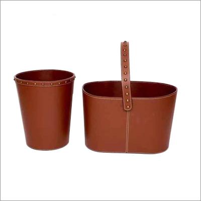 Leather Basket Bin