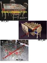 Silver White Metal Dining Table