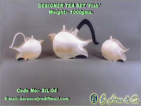 Silver Tea Set 'Fish Shape'