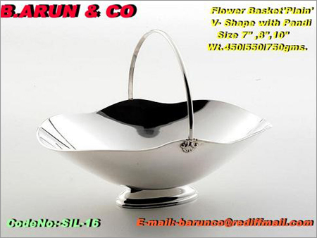 Silver Flower Basket