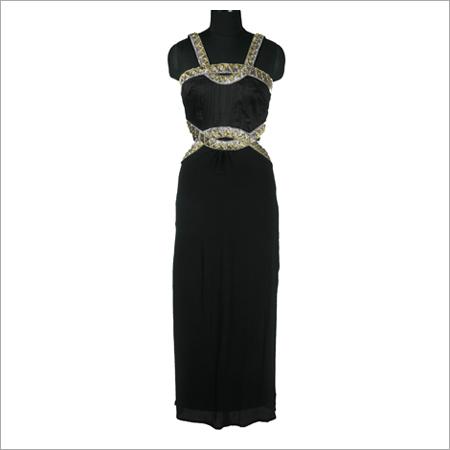 Black Crepe Side Cutout Gown