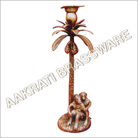 Brass Candle Stand with Monkey under Tree