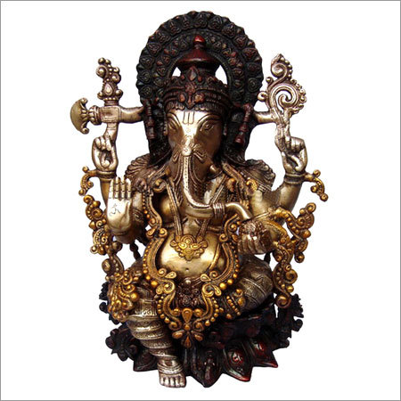 Ganesh Statue - Brass Metal Decorative Sculpture