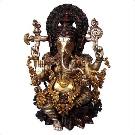 Ganesh Statue - Brass Metal Decorative Sculpture
