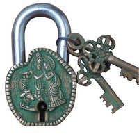 Brass Pad Lock With Radha Krishna Sculpture