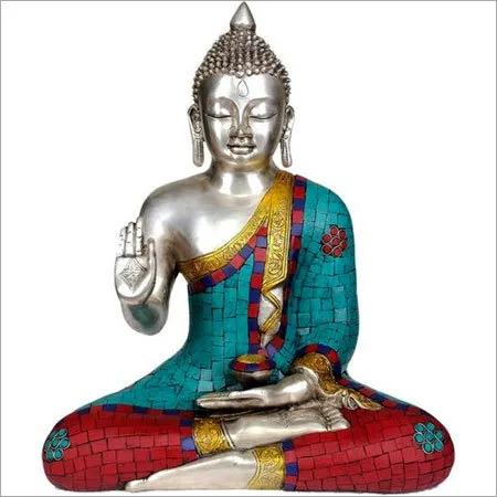 Lord Buddha Designer Brass Metal Statue
