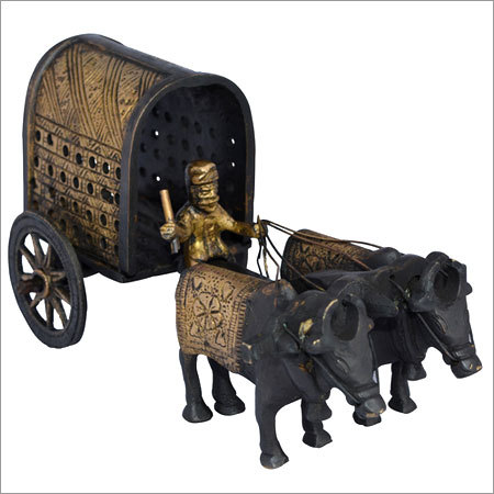 Brass Sculpture of Bullock Cart for Home Decor