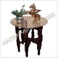 Brass Table with Wooden Leg
