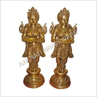 Brass Goddess Deep Lakshmi Standing  Statues Pair of Welcome Lady