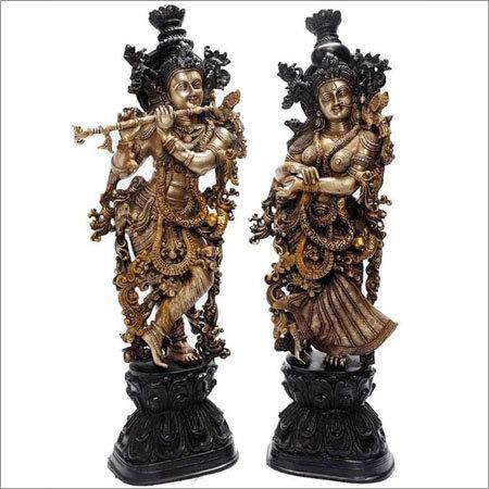 Radha Krishna brass statue for religious or decorative purpose